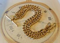 Victorian Pocket Watch Chain 1890 Antique 12ct Rose Rolled Gold Albert & T Bar (2 of 11)