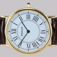 Vintage Tiffany & Co 14ct Solid Gold 31mm Slim Thin Men's / Ladies Quartz Watch with box (5 of 15)