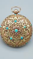 Rare 18th Century French 18k Gold Turquoise & Ruby Pocket Watch (2 of 10)