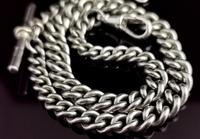 Vintage Art Deco Sterling Silver Albert Chain, Watch Chain (6 of 10)