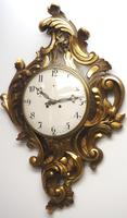 Impressive French Carved Cartel Wall Clock 8 Day Movement Scrolling leaf design 84cm High (5 of 13)