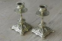 Pair of Victorian William Tonks Brass Candlesticks Register Diamond Mark '1882 WT&S' (2 of 9)