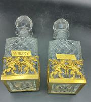 Pair of French Ormolu Cut Crystal Decanters Whisky & Cognac (3 of 8)