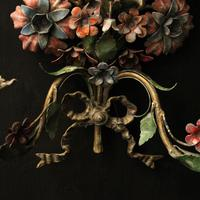 French Pair of Toleware Floral Wall Lights (6 of 10)