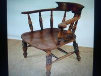 Captain's Chair or Smoker's Bow. Good and Original Victorian (2 of 9)
