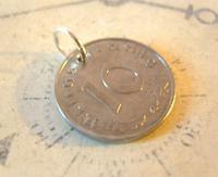 Vintage Pocket Watch Chain Fob 1944 WW2 German Reich 10 Pfennig Eagle Coin Fob (4 of 4)