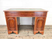 Reproduction Yew Wood Kneehole Desk (12 of 12)