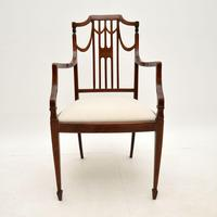 Pair of Antique Edwardian Inlaid  Mahogany Armchairs (5 of 12)