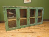 Antique Glazed Wooden Indian Wall Cabinet with Chippy Old Turquoise Paint (10 of 18)