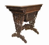 Antique Burmese Work Box - Desk Writing Table 1890 Hardwood (6 of 13)