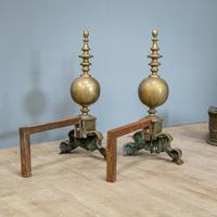 Victorian Brass Andirons & Fender (3 of 9)