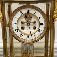 French 8 Day Striking Four Glass Ormolu Clock by Samuel Marti Paris, 19th Century (8 of 11)