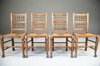 4 Country Spindle Back & Rush Chairs