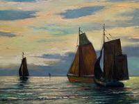 Andries Debeuf Flemish, Stunning Large Moonlit Seascape Oil Painting (8 of 13)