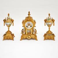 Antique French Porcelain & Gilt Mantel Clock Set (4 of 12)