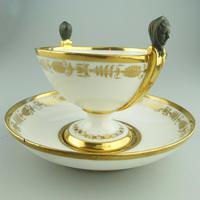 Extremely Rare Dihl / Old Paris Porcelain Bowl & Saucer c.1795