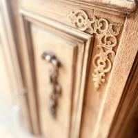 French Antique Oak Sideboard / Cupboard / Cabinet with Arabescato Marble (9 of 10)