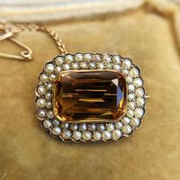 Antique Edwardian 9ct Gold Citrine & Pearl Brooch, Chester 1902 (2 of 9)