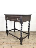 Antique Oak Side Table with Drawer (9 of 10)
