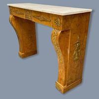 French Burr Walnut & Marble Top Console Table (4 of 14)