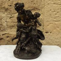 French Patinated Bronze Bacchanalian Group after Clodion
