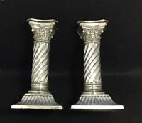 Pair of Silver Plated Late Victorian Barley Twist Corinthian Column Candlesticks (4 of 7)