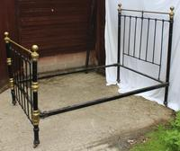 1900's Quality Brass and Iron Black Bed Frame - Check sizes. No Base (3 of 4)
