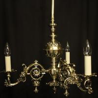 English Pair Of Triple Light Antique Gasoliers (10 of 10)