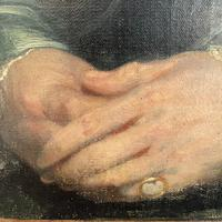 Antique Large Victorian Oil Painting Portrait of Gentleman in Smoking Jacket & Hat (7 of 10)