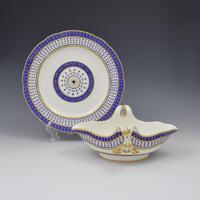 18th Century Sevres Porcelain Sauciere A Deux Sauceboat & Plate Pois Bleu 1788