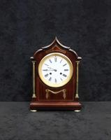 French Belle Epoque Mahogany Mantel Clock by Samuel Marti