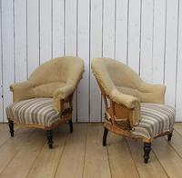 Pair of Antique Deconstructed Napoleon III Tub Chairs for re-upholstery