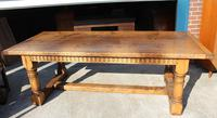 1960's Oak Refectory Table with Set 8 Jacobean style Oak Highback Dining Chairs (6 of 7)