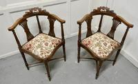 Pair of Edwardian Walnut Corner Chairs (3 of 6)