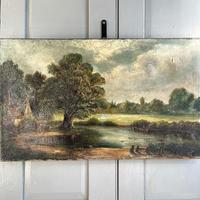 Antique English River Landscape Oil Painting After Constable Signed R Watts 1843 (3 of 10)