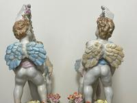 Pair of Small Dresden Victorian Style Porcelain Cherub Table Mirrors (25 of 60)