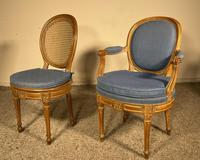 Set Of 12 Chairs And Two Armchairs Louis XVI 18th Century (10 of 11)