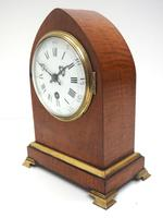 French Lancet Walnut Mantel Clock 8-day Front Wind Mantle (4 of 10)