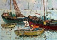 Marion Coker Leigh on Sea Fishing Boats Seascape Sailing Oil Painting (7 of 15)