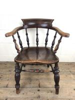 19th Century Ash and Elm Smoker's Bow Chair (M-1704) (14 of 15)