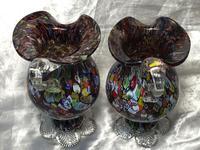 2 Italian Murano 20th Century Fratelli & Torso Millefiori Glass Vases (9 of 15)