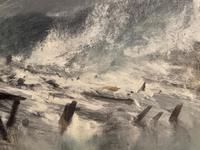 Huge 19th Century Seascape Oil Painting Sinking Ship Signalling Rescuers by Henry E Tozer (56 of 58)