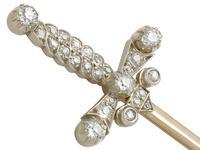 1.59ct Diamond & 9ct Yellow Gold Jabot Pin 'Sword' Brooch - Antique Edwardian (5 of 9)