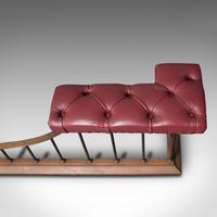 Antique Fender Seat, English, Brass, Leather, Fireside Bench, Victorian c.1880 (9 of 12)