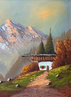 The Three Peaks 20thc Vintage Swiss School - Mountainous Landscape Oil Painting (3 of 12)