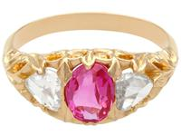1.28ct Burmese Pink Sapphire & 0.76ct Diamond, 22ct Yellow Gold Trilogy Ring - Antique Victorian (4 of 12)
