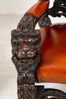 Superb Pair of Oak Throne Chairs (10 of 14)