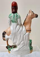 Pair of Antique English Victorian Staffordshire Pottery Figures of Mounted Jockeys ~ H 3312 / H 3313 (9 of 12)