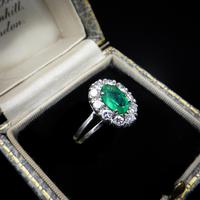 Vintage Emerald and Diamond Platinum Oval Cluster Halo Ring (2 of 9)