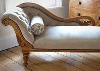 Edwardian Mahogany Framed Chaise Longue with Button Back Upholstery (3 of 12)